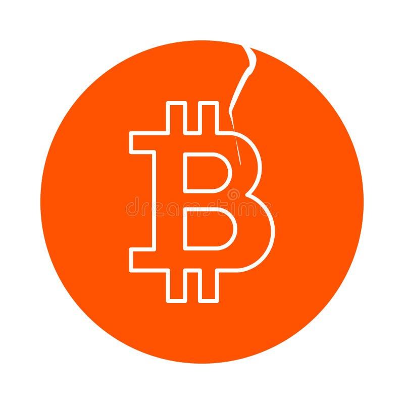 Symbool van digitale crypto munt bitcoin, rond lineair pictogram met een barst, vlakke stijl royalty-vrije illustratie