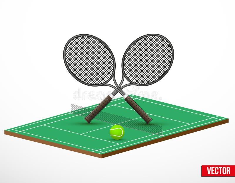 Symbool van een een tennisspel en hof royalty-vrije illustratie