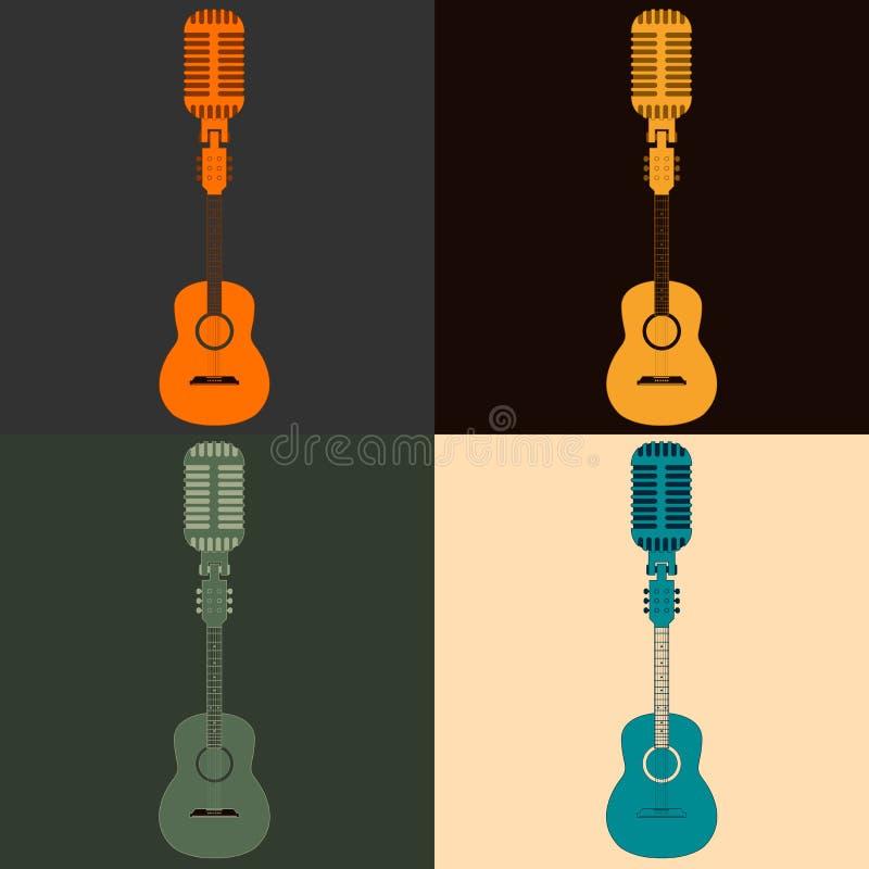 Symbool van een gitaar en een microfoon stock illustratie