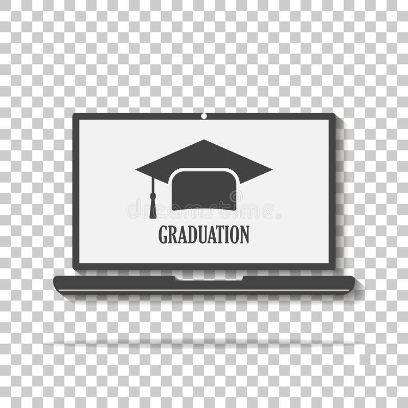 Symbool van een graad voor het onderwijs Vector webinar pictogram, online tra royalty-vrije illustratie