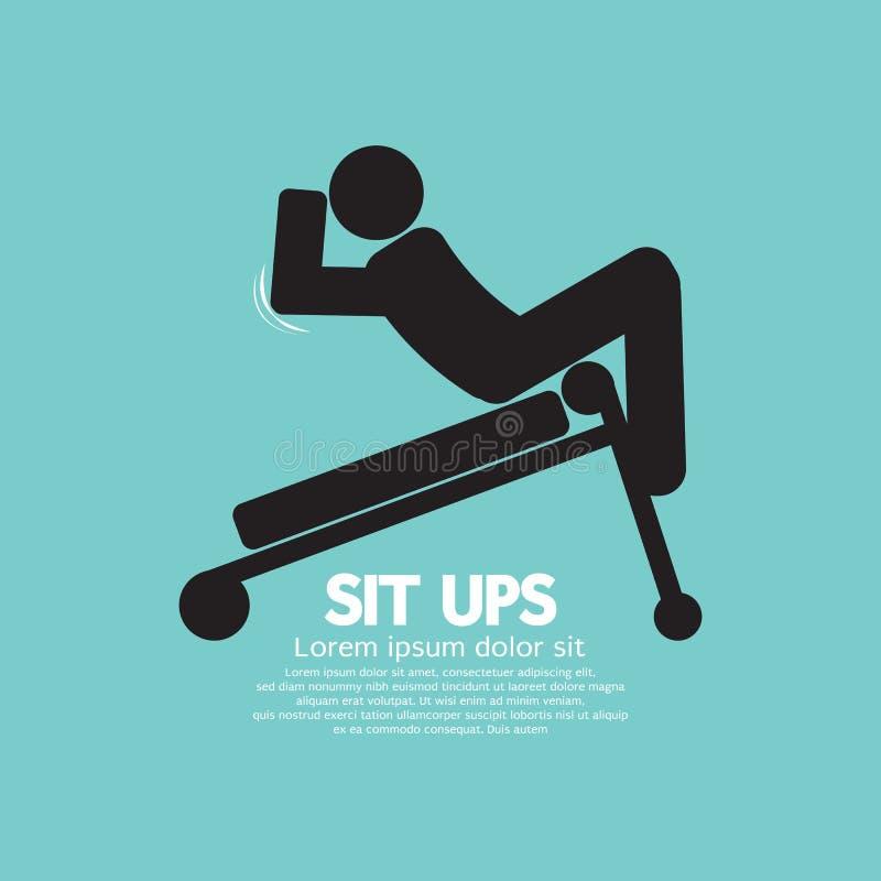 Symbool van een Mens Sit Ups Training On Equipment royalty-vrije illustratie
