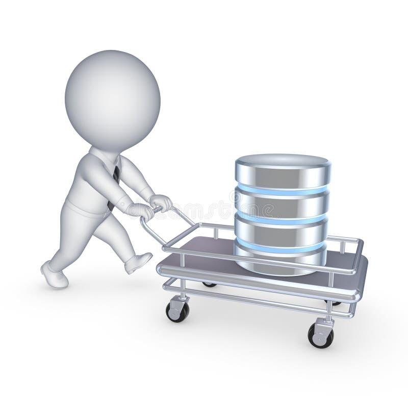 Symbool van gegevensbestand op een handkar. stock illustratie