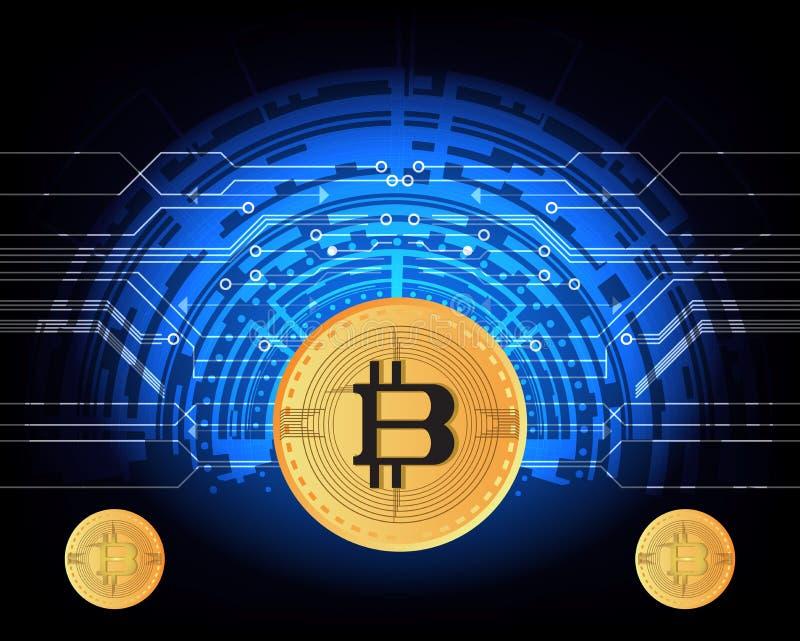 Symbool van het de munt verbindt het digitale gouden muntstuk van het Bitcoingeld met de innovatiefinanciën van het achtergrond a royalty-vrije illustratie