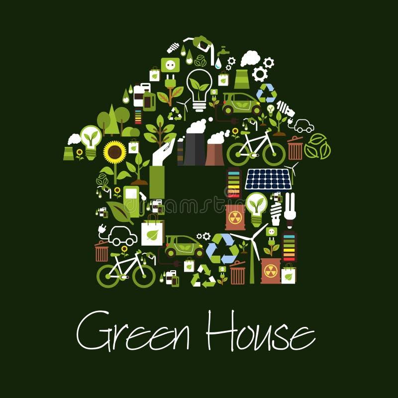 Symbool van het Eco het groene huis met ecologische pictogrammen royalty-vrije illustratie