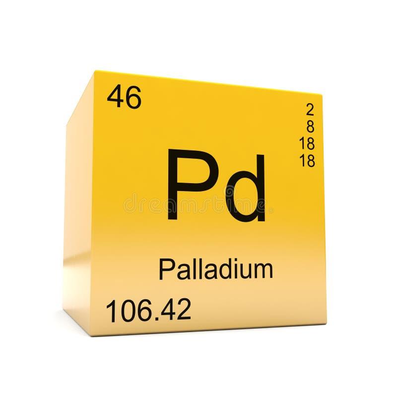 Symbool van het palladium het chemische element van periodieke lijst vector illustratie