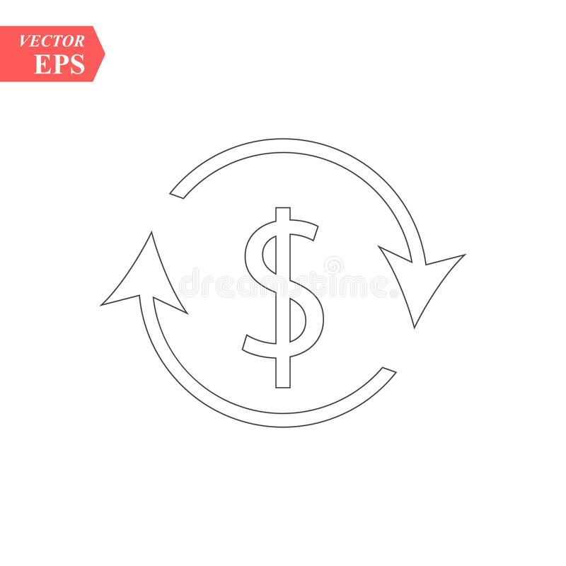 Symbool van het het pictogram het illustratie geïsoleerde vectorteken van de gelduitwisseling royalty-vrije illustratie