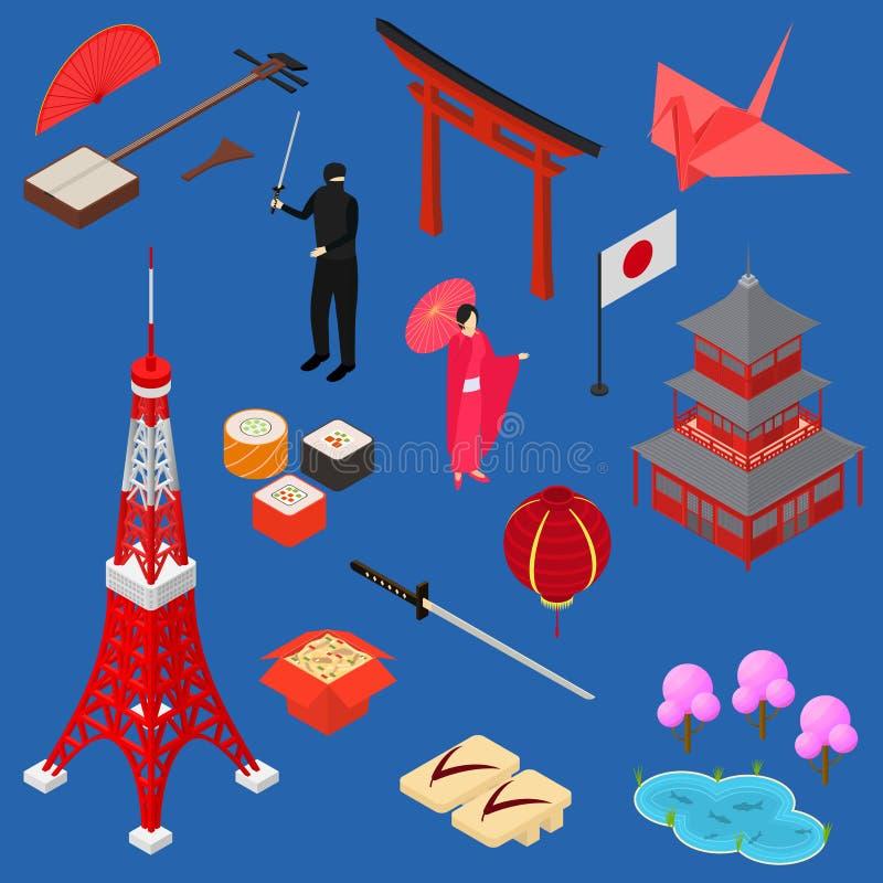 Symbool van het Pictogram Vastgestelde Isometrische Mening van Japan Vector stock illustratie