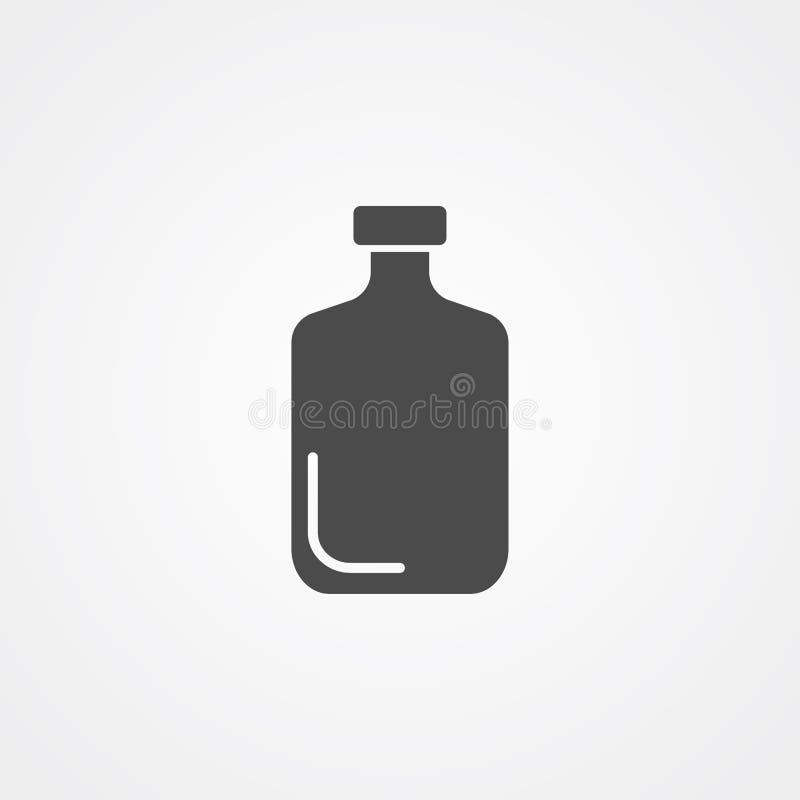 Symbool van het het pictogramteken van de glasfles het vector stock illustratie