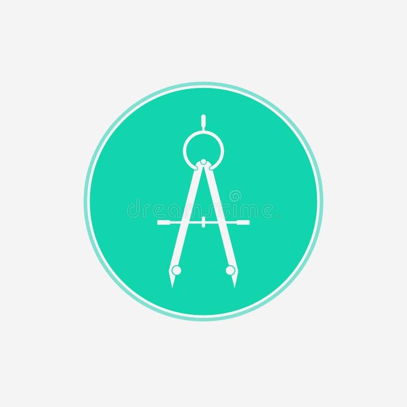 Symbool van het het pictogramteken van het tekeningskompas het vector stock illustratie