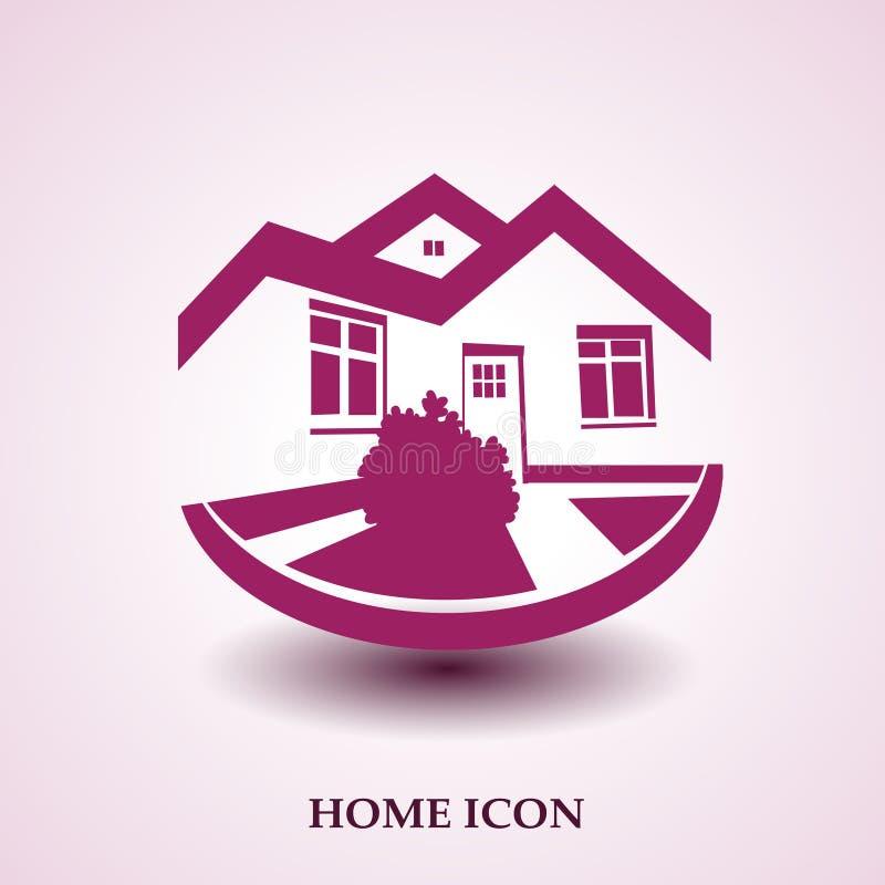 Symbool van huis, huispictogram, makelaardijsilhouet, onroerende goederenmodern embleem stock illustratie