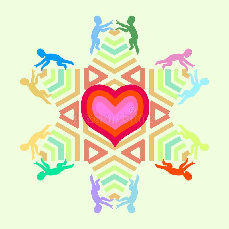 Symbool van liefde en eenheid met hartster en mensenpictogrammen vector illustratie