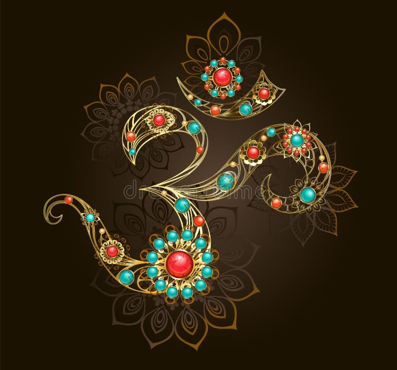 Symbool van Om met turkoois royalty-vrije illustratie