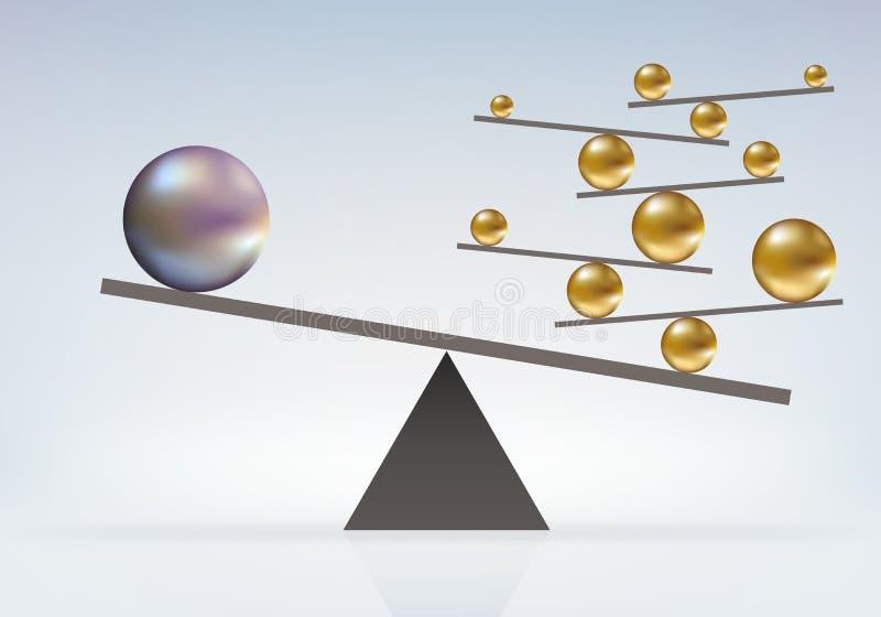 Symbool van onmogelijk evenwicht tussen ballen van verschillende kalibers vector illustratie