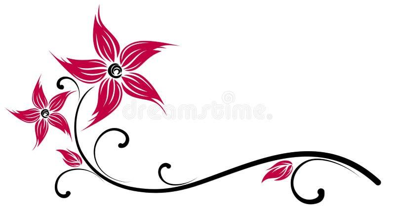 Symbool van rode bloem stock illustratie