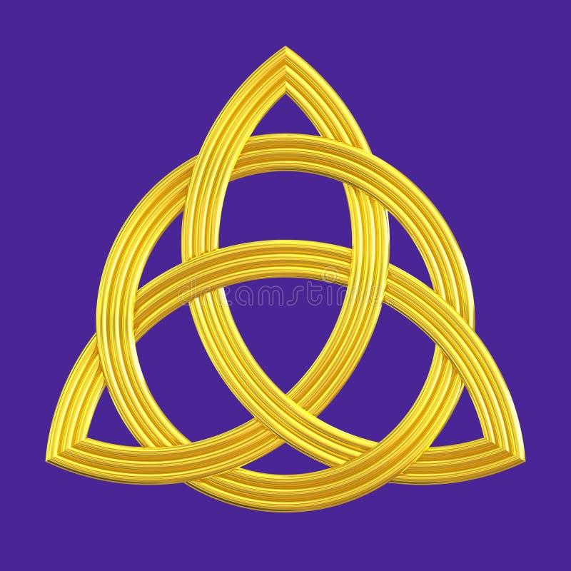 Symbool van Triquetra van de drievuldigheidsknoop het gouden royalty-vrije illustratie