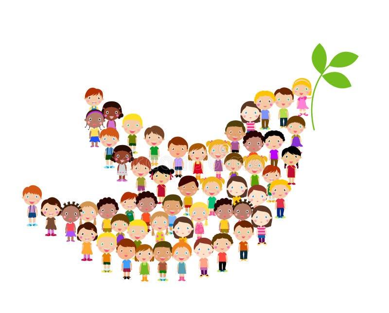 Symbool van vrede - kinderen vector illustratie