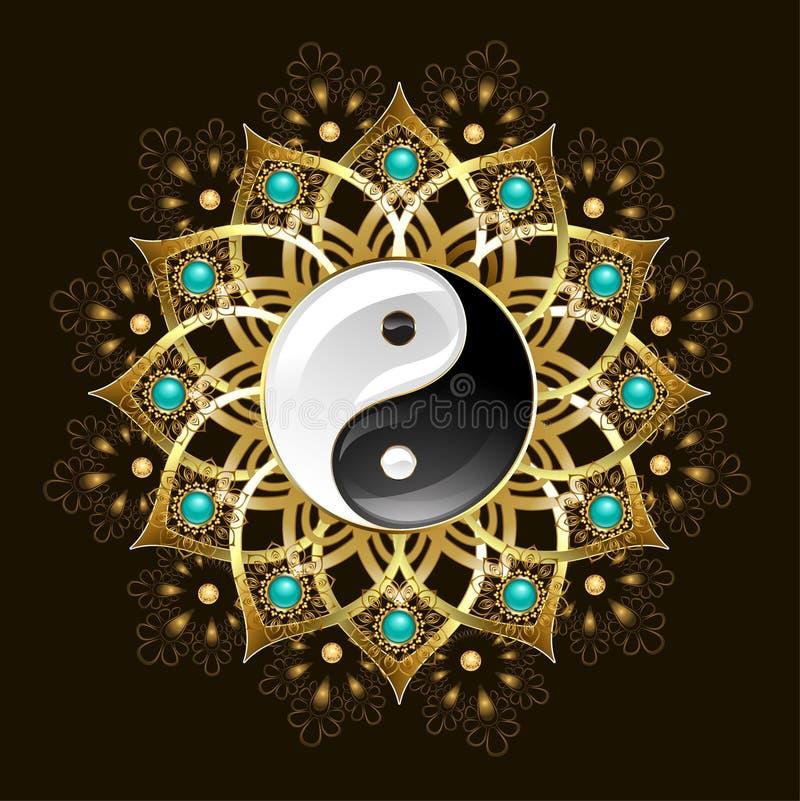 Symbool van yin yang mandala stock illustratie