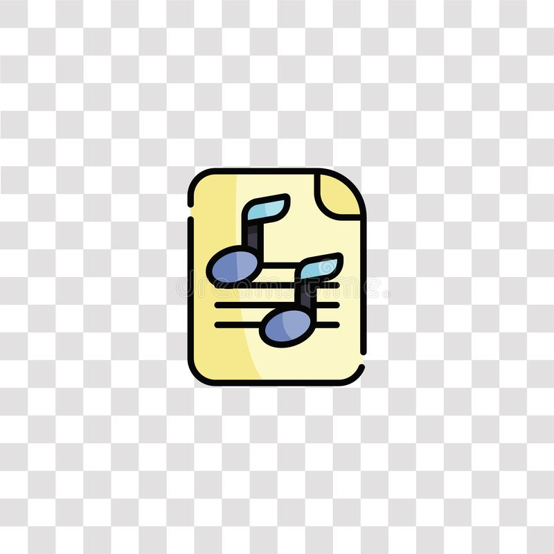 Symbool voor bladmuziek en symbool vel muziekkleurenpictogram voor websiteontwerp en mobiele app-ontwikkeling Eenvoudig element v vector illustratie