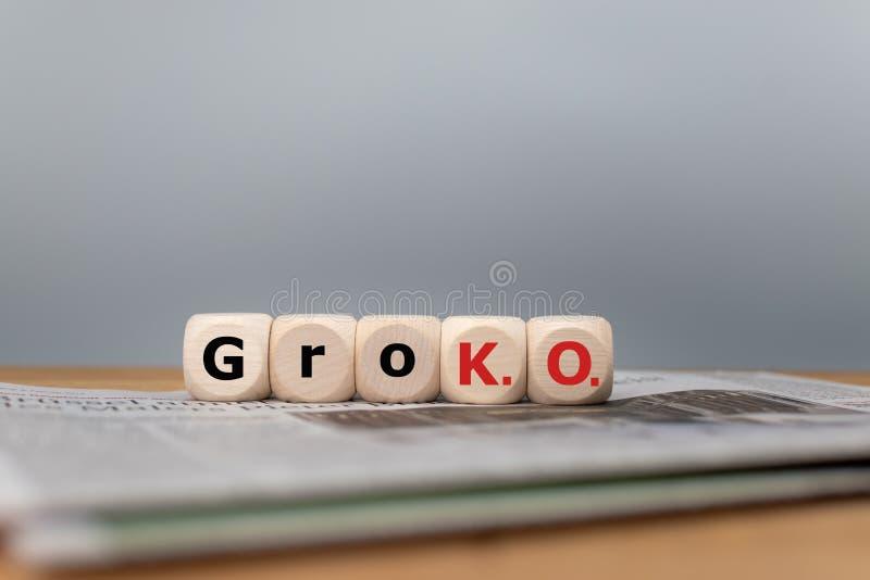 Symbool voor het eind van de grote coalitie genoemd 'GroKo ' royalty-vrije stock foto