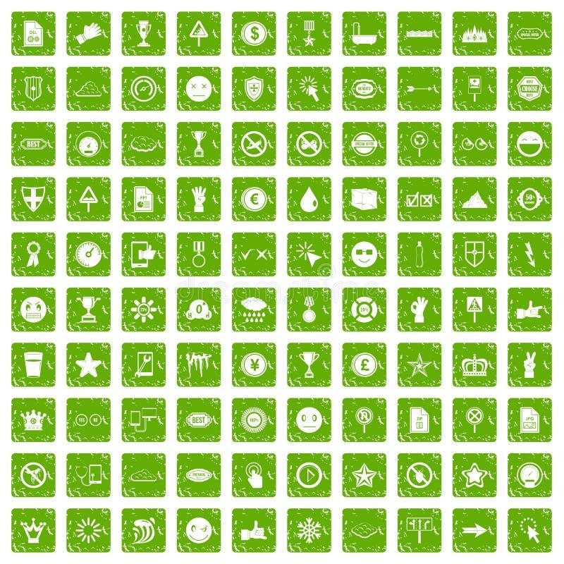 100 symboolpictogrammen geplaatst grunge groen royalty-vrije illustratie