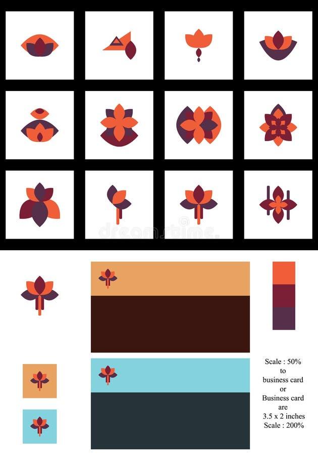 Symetria kwiatu wzoru stylu logotypu set ilustracji