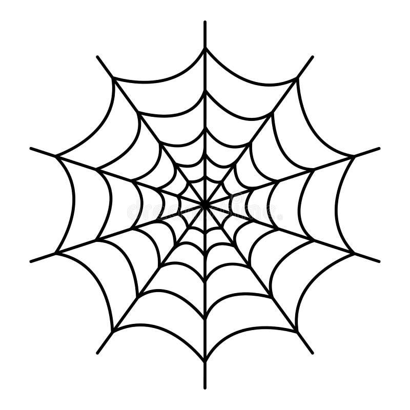 Symetryczna pająk sieci ikona, konturu styl ilustracji