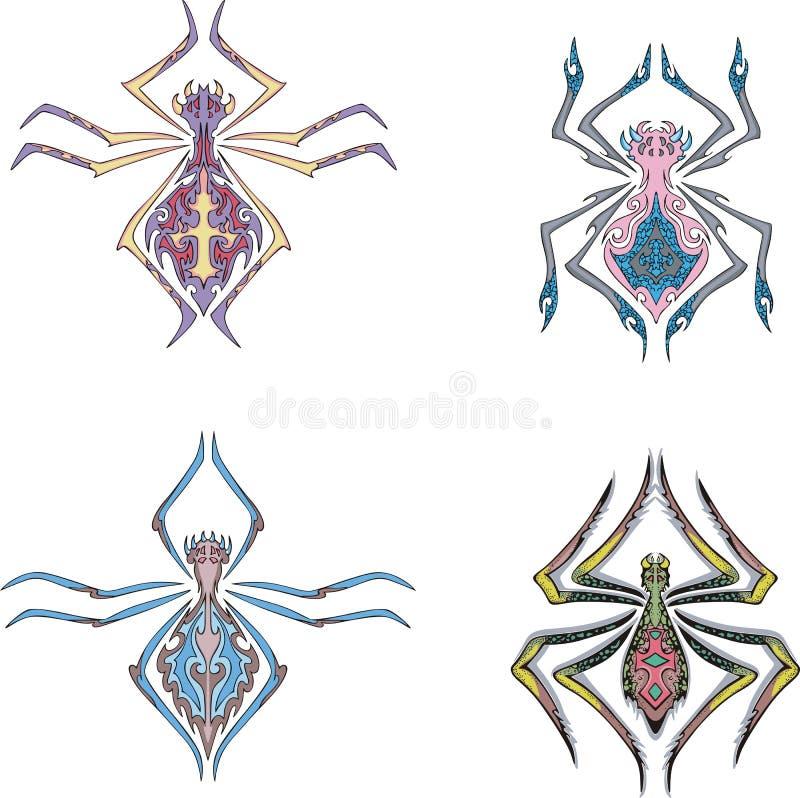 Symetryczni pająki royalty ilustracja