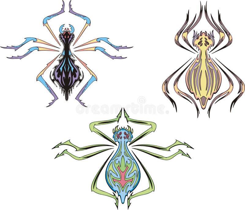 Symetryczni pająki ilustracji