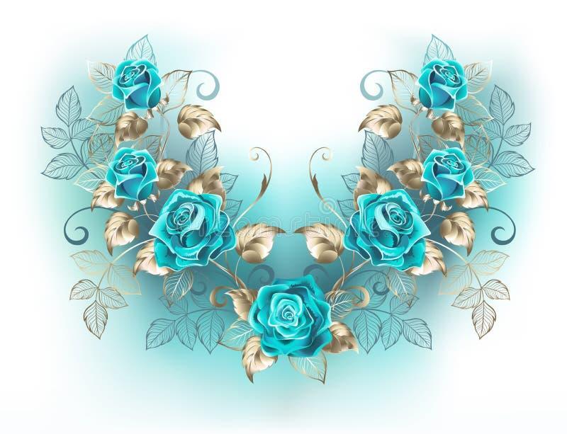 Symetryczny skład z turkusowymi różami ilustracja wektor