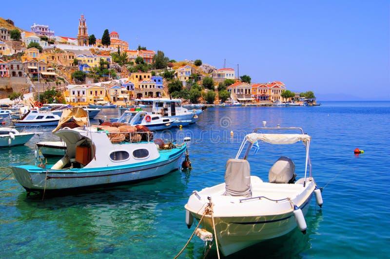 Symi的港口,希腊 库存图片