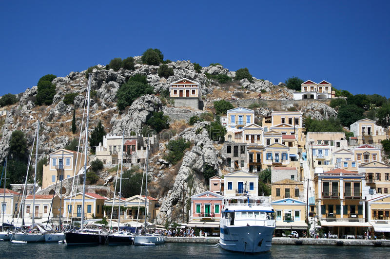 Download Symi bay editorial stock image. Image of destination - 24080454
