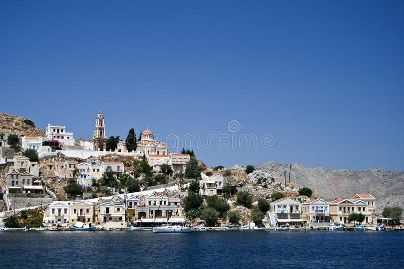 Download Symi bay editorial photography. Image of hill, sail, mediterranean - 24080572