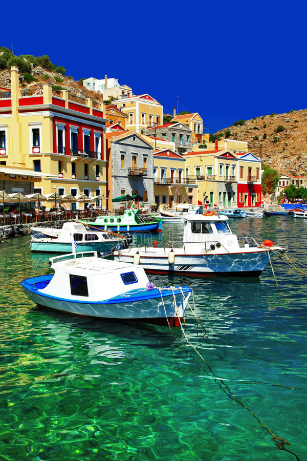 Symi-Insel, Dodecanes, Griechenland stockbilder