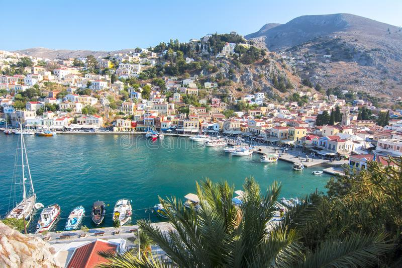 Symi town cityscape, Dodecanese islands, Greece stock image
