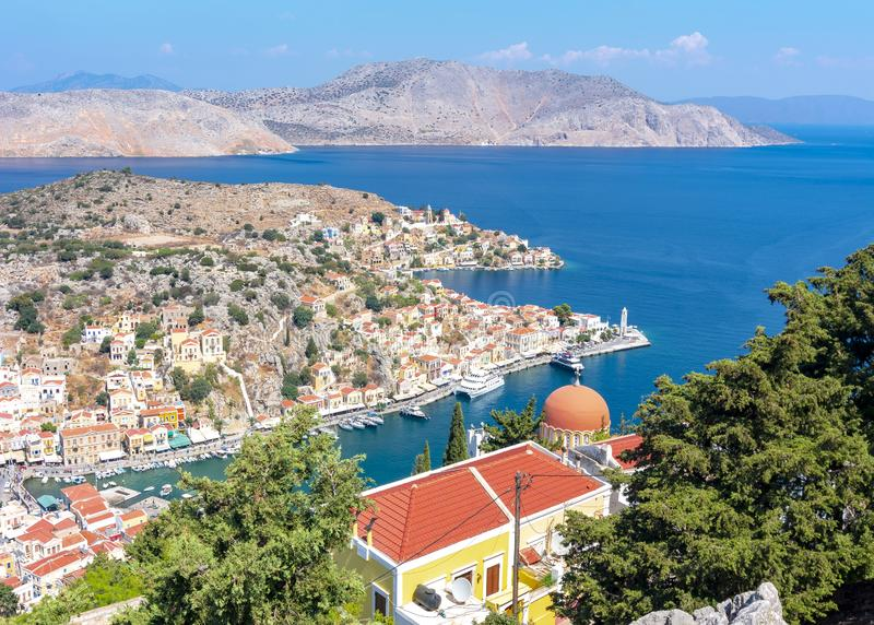 Symi town cityscape, Dodecanese islands, Greece royalty free stock photography
