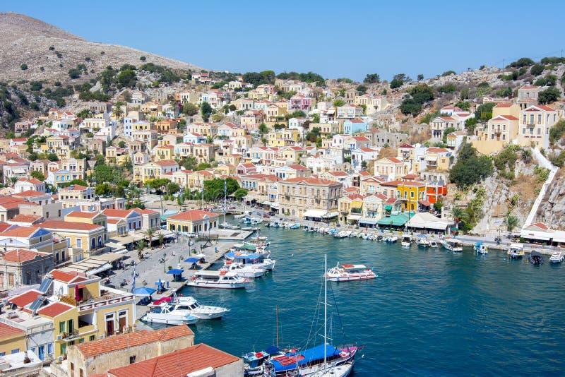 Symi town cityscape, Dodecanese islands, Greece stock photos