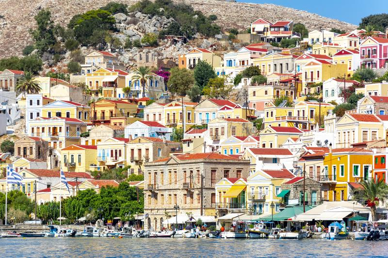 Symi town colorful houses, Dodecanese islands, Greece royalty free stock image
