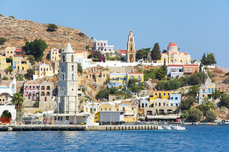 Symi town, Dodecanese islands, Greece stock photography