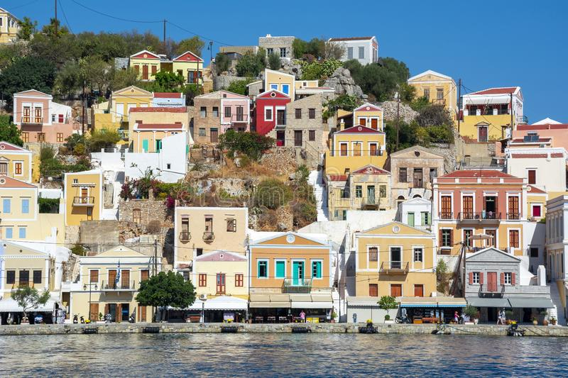Symi town houses, Dodecanese islands, Greece royalty free stock image