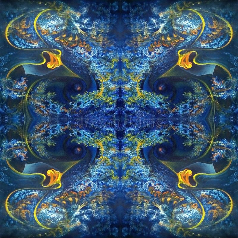 Symmetric abstract pattern in blue with orange elements. Oil painting on canvas. vector illustration