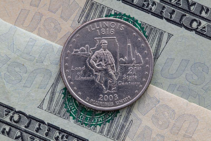 Symmetric composition of US dollar bills and a quarter of Illinois stock images