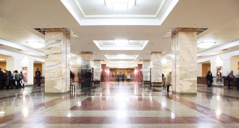Symmetric hall in building of library MSU stock photos