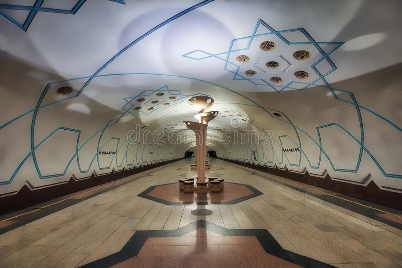 Symmetric Metro Station Architecture in Central Tashkent, Uzbekistan. Taken in 2018 stock photos