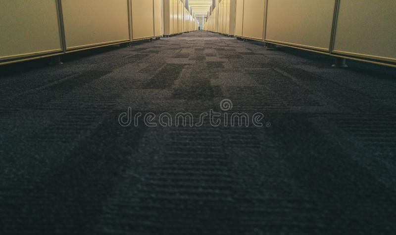 Symmetric office interior with long corridor stock image