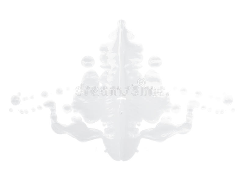 Symmetric paint blot. Symmetric abstract paint blot as in a Rorschach test isolated over the white background royalty free stock image