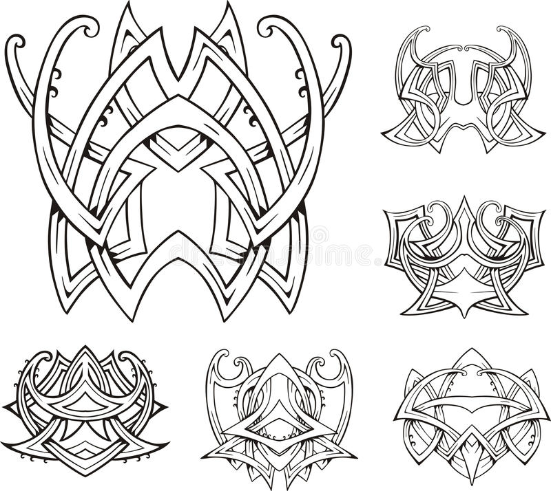 Symmetric Tribal Knot Tattoos Royalty Free Stock Photo
