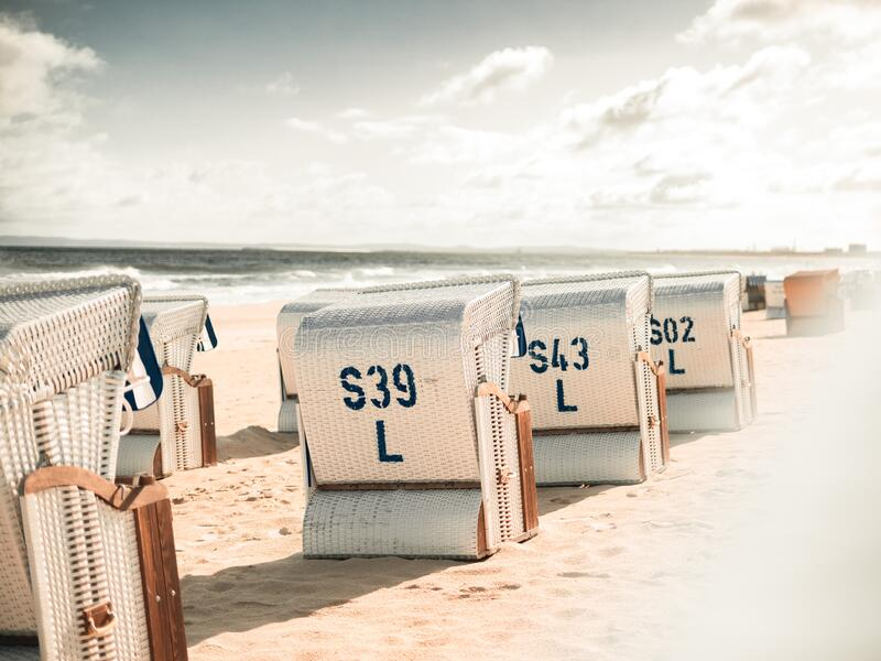 Symmetrical Beach chairs in Ahlbeck, Baltic Sea, Germany royalty free stock photos