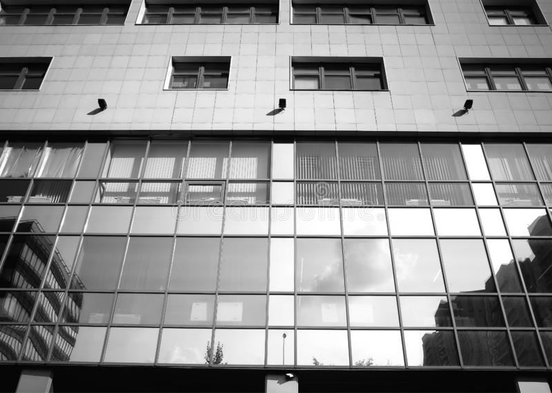 Symmetrical black and white business building backdrop. Hd stock photography