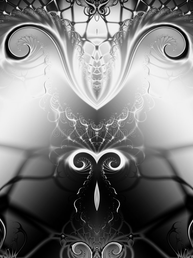 Symmetrical Black White Swirls vector illustration