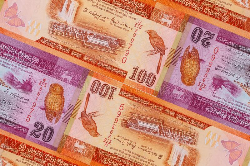 The symmetrical composition of Sri Lankan banknotes royalty free stock images